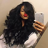 Stylish Middle Part Body Wave Hair High Temperature Wig Jet black Color Natural Daily Wearing