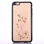Five Leaves and Flowers Stickers Embossed Pattern PU Leather Material TPU Phone Case  for iPhone  6S 6 Plus