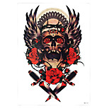 1pc Skull Rose Flower Indian Feather Wing Pattern Temporary Women Men Body Art Tattoo Sticker HB-257
