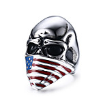 Skull Flag Rock Retro Drawing Titanium Steel Men's Ring
