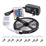 IP65 RGB LED Strip 5M 300 3528 Flexible Light  Tape Party Decoration Lamps DC12V 3A Power Adapter IR Remote Controller