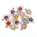 Beadia 20Pcs Assorted Colors 15x24mm Flower Shape Acrylic Plastic Rhinestone Charm Pendant & Connector Findings