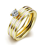 Ring Euramerican Steel Round Gold Jewelry For Daily 1pc