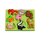 Jungle Animals Owl Squirrel Silicone Polymer Clay Mold Cake Decoration Tools Fimo Fondant Chocolate Candy Soap Making
