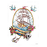 1pc Sailing Sea Rose Flower Boat Anchor Skull Bird Tattoo Temporary Women Men Body Art Tattoo Sticker HB-268