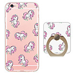 Cartoon unicorn Pattern Ring Holder Ultra-thin Translucent Soft TPU Back Cover for iPhone 6s Plus/6 Plus/6s/6/SE/5s/5