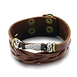 Men's Fashion Jewelry Gift Alloy Vintage Adjustable Leather Bracelet Casual/Daily Accessories