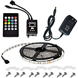 Waterproof 150LEDs 5M Color RGB LED Strip Light Kit with 20-key Music Sound Sense IR Controller and 12V 3A Power Supply