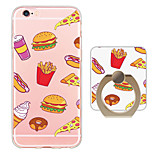 Hamburger Pattern Ring Holder Ultra-thin Translucent Soft TPU Back Cover for iPhone 6s Plus/6 Plus/6s/6/SE/5s/5