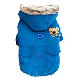 Winter Warm Bear Pattern Solid Color Cotton-padded Coat with Hoodie for Pets Dogs Dog Clothes