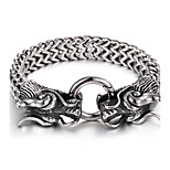Cheap 316L Stainless Steel Link Chain Double Dragon Charm Bracelet High Polishing Men Accessory Gift For Boyfriend