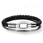 Bracelet Bracelets en cuir Cuir / Acier au titane Forme Ovale Mode Mariage / Soirée / Quotidien / Décontracté Bijoux Cadeau Argent,1pc