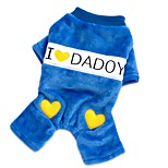 Mom and Dad Blue Comfortable Double-Fleece Jumpsuit for Pet Dogs Dog Clothes