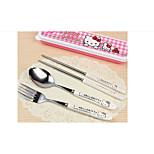 Children'S Tableware Wholesale Hello Kitty Cute Cartoon Cat Doraemon Three-Piece Stainless Steel Cutlery
