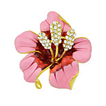 Fashion Beautiful Enamel Rhinestone Big Flower Brooches for Women