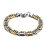 Men's Fashion  Cool Stainless Steel Gold Plated Gold -Silver  Chain Bracelets(1Pc)