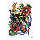 1pc Waterproof Temporary for Women Men Body Art Tattoo Bloodiness Leopard Sword Flower Tattoo Sticker HB-285