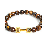 Beadia 1Pc Live Lift Dumbbell Bracelet 8mm Natural Tiger Eye Stone Beads Strand Bracelet
