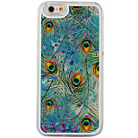 Blue Flowing Quicksandd Liquid/Peacock Feathers PC Hard Case For Apple iPhone 6s Plus/6 Plus/iPhone 6s/6/iPhone 5/5s/SE