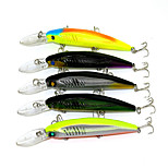 14.5cm 12.7g / Pcs Dive Fishing Tackle Fishing Lures Bionic Bait Fishing Minnow 3 hooks Styles 5PC / Set