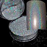 2g/Box Holographic Laser Powder Nail Glitter Rainbow Chrome Powder Metal Pigments Dust