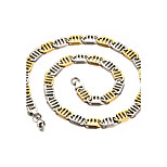 Men's Fashion Cool Stainless Steel Gold Plated Gold-Silver Chain Necklaces(1pc)