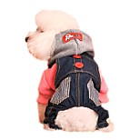 Cat Dog Hoodie Clothes/Jumpsuit Dog Clothes Winter Spring/Fall Jeans Holiday Fashion Red Blue