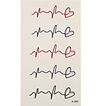 1pc Colorful Waterproof Tattoo Cardiogram Small Temporary Tattoo Sticker 10.5*6cm