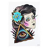 1pc Geisha Women Men Body Art Tattoo Temporary Triangle Eyes Femme Fatale Flowers Tattoo Sticker HB-282