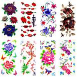 1 Tattoo Aufkleber Blumen Serie Muster Unterer Rückenbereich WaterproofDamen Herren Erwachsener Teen Flash-Tattoo Temporary Tattoos