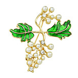 Imitation Pearl Enamel Branch Shape Brooches
