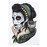 1pc Flour Women Makeup Owl Femme Fatale Women Men Body Art Tattoo Waterproof Temporary Tattoo Sticker HB-281