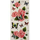 1pc Colorful Waterproof Tattoo Butterfly on Pink Roses Temporary Tattoo Sticker 18.5*9cm