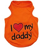 Muti-Colors I Love My Mommy/Daddy Printing  Cotton Vest for Pets Dogs (Assorted Sizes and Colours)