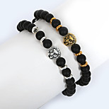 Beadia 1Pc 8mm Black Glass Bead Strand Bracelet Buddha Lion Bracelet