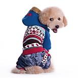 Katzen / Hunde Kostüme / Mäntel / Kapuzenshirts / Hosen / Overall Blau / Rosa Hundekleidung Winter / Frühling/Herbst Herzen / Schneeflocke