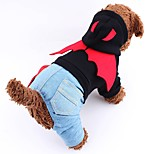 Cute Devil Shaped Design Denim Jumpsuit with Hoodie for Pets Dogs (Assorted Sizes and Colours)