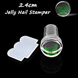 2.4cm Pure Clear Jelly Silicone Nail Art Stamper Scraper Transparent Nail Stamp Stamping Tool