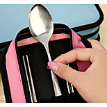 Square Stainless Steel Travel Cutlery Couple Chopsticks Spoon Suit Cutlery Sets Triple Bowl