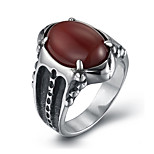 Men's Fashion 316L Titanium Steel Vintage Personality Engraved Zircon Statement Rings Casual/Daily Accessory