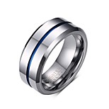 Men's Fashion Personality Tungsten Carbide IP Blue Plating High Polished  Band Rings(1Pc) Christmas Gifts
