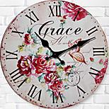 Moderne/Contemporain Famille Horloge murale,Rond Bois 34*34*3cm Intérieur Horloge