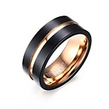 Men's Fashion Tungsten Carbide Matte Finished IP Black Rose Gold Plating High Polished  Band Rings(1Pc)
