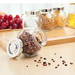 Spherical Glass Jar Pot Beans Kitchen Storage Condiment Dispenser