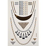 1pc Gold Silver Waterproof Tattoo Fake Choker Necklace and Earrings Temporary Tattoo Sticker 14.3*26cm