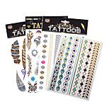 4pcs/kit Tattoo Aufkleber Totem Serie Muster / Stamm / Unterer Rückenbereich / Waterproof / Leuchtet im Dunkeln / MetallicDamen / Girl /