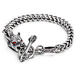 Cheap 316L Stainless Steel Link Chain Red Evil Eyes Animal Wolf Charm Bracelet 2016 New Punk Hip Hop Halloween Gift