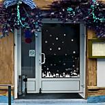 Glass Window Film Colorful Flower Glass Stickers Merry Christmas Christmas window