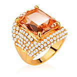 Luxury Design Fashion 18K Gold/Platinum Plated Big Zircon Inlayed Crystal Rings For Women Jewelry Gift R70099