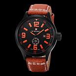 Naviforce Men Black Leather Band Digital Calendar Noctilucent Sports Quartz Watch Random Color
